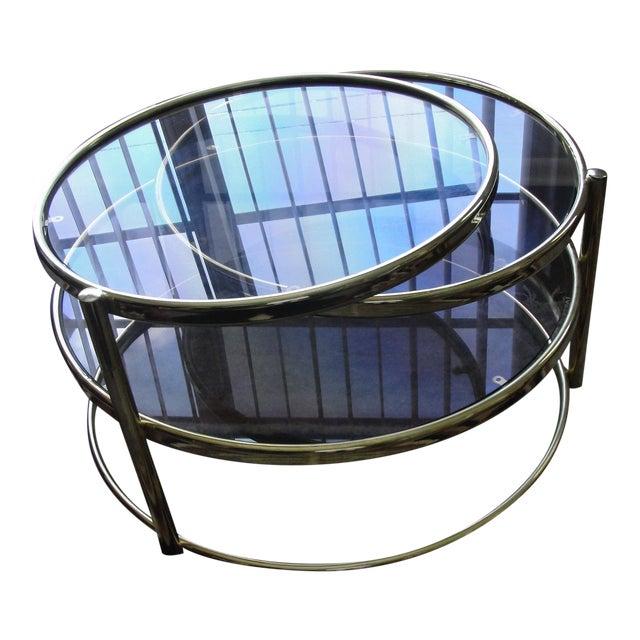 Milo Baughman Smoked Glass Swivel Table For Sale