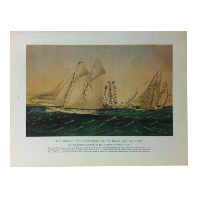 """Vintage Currier & Ives Chronicles of America Color Print, """"The Great International Yacht Race - August 8, 1870"""" Circa 1960 For Sale"""