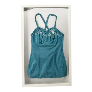Vintage Teal Swimsuit, Framed For Sale