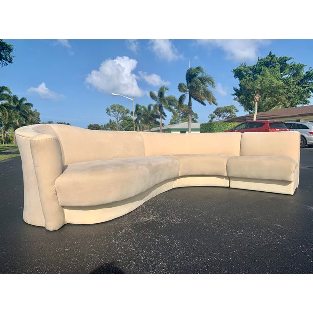This is a scroll back 3pc sectional sofa from Vladimir Kagan for Weiman. Missing right side scroll section, but can still...