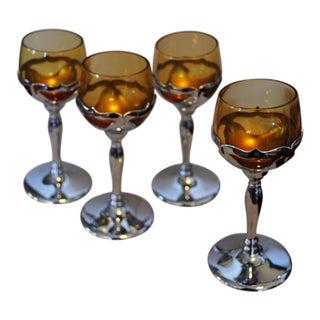 1950s Cambridge Farber Krome Kraft Amber Cordial Stemware Glasses - Set 4 For Sale