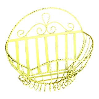 1960s Vintage Yellow Metal Basket For Sale