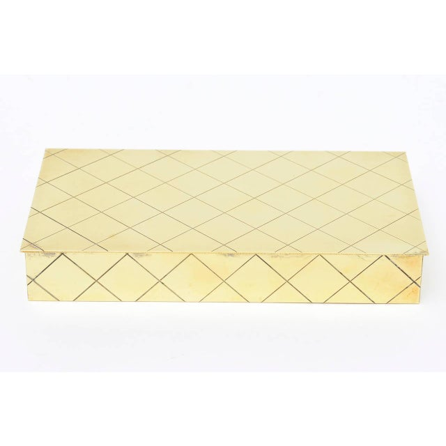 Tommi Parzinger Polished Diamond Criss Cross Brass and Wood Box - Image 2 of 9