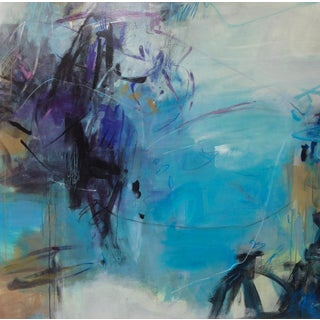"Cooper Acrylic Painting, ""Conversation in Blue"", Contemporary Large Blue Abstract For Sale"