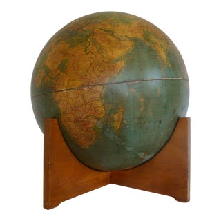 MId-century Modern World Globe on Cradle Stand For Sale