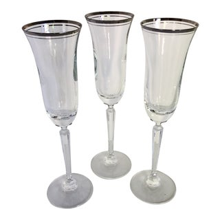 Fantastic French Double Platinum Ring Rimmed Crystal Champagne Flutes - Set of 3
