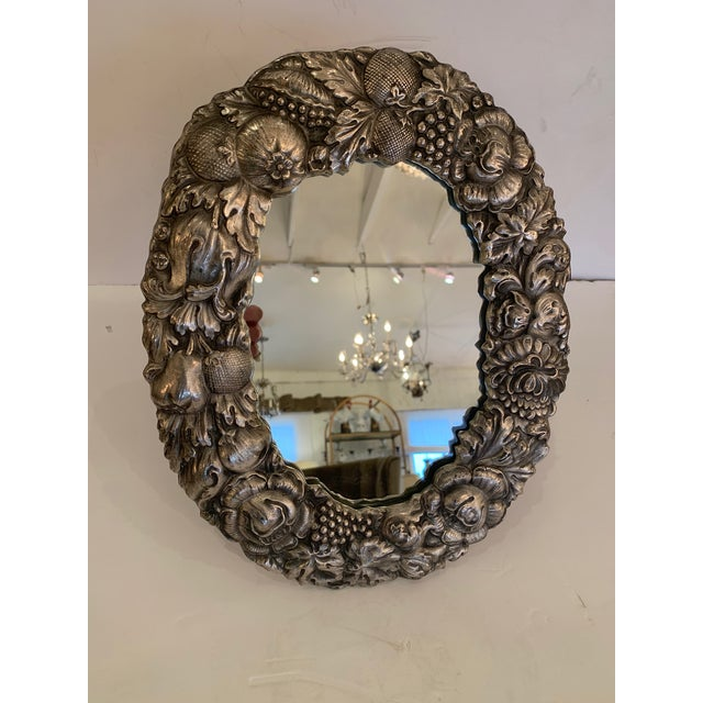 Silver Plated Repousee Oval Tabletop Mirror For Sale - Image 11 of 11