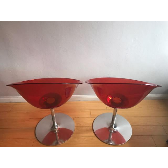 Contemporary Kartell Opaque Red Chairs by Philippe Starck - A Pair For Sale - Image 3 of 6