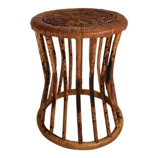 Vintage Burnt Bamboo Plant Stand For Sale