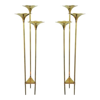 Pair of Mid-Century Modern Brass Floor Lamps, Gabriella Crespi Style Italy 1960s For Sale
