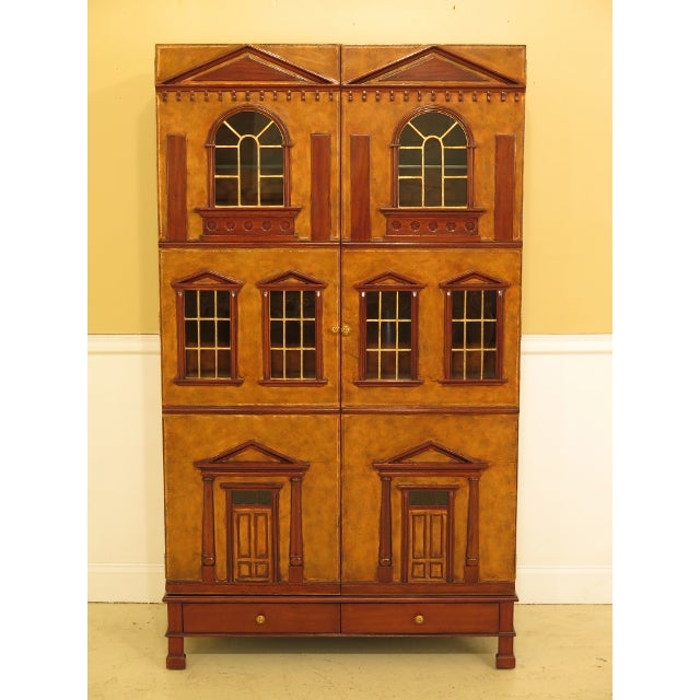 Maitland Smith Leather Wrapped House Form China Cabinet For Sale - Image 13 of 13