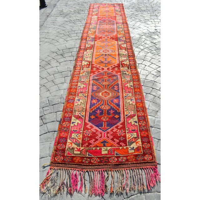 Offered is a matchless Kurdish runner rug, made in Hakkari approximately 70-90 years ago. The beautiful wool on cotton...