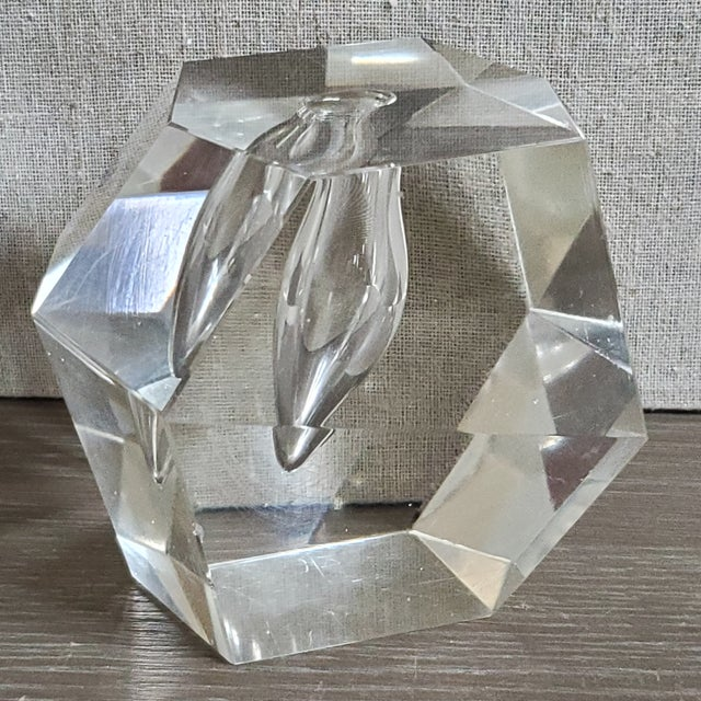 Vintage geometric cut clear crystal pen holder. The holder is quite heavy and can serve dual purpose as a paperweight. A...