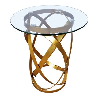 Mid-Century Modern Bungalow Gold 5 Belt Side Table For Sale