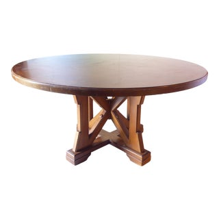 Vintage Modern Walnut Round Dining Table For Sale