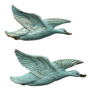 California Originals Pottery Wall Art -Teal Birds in Flight For Sale