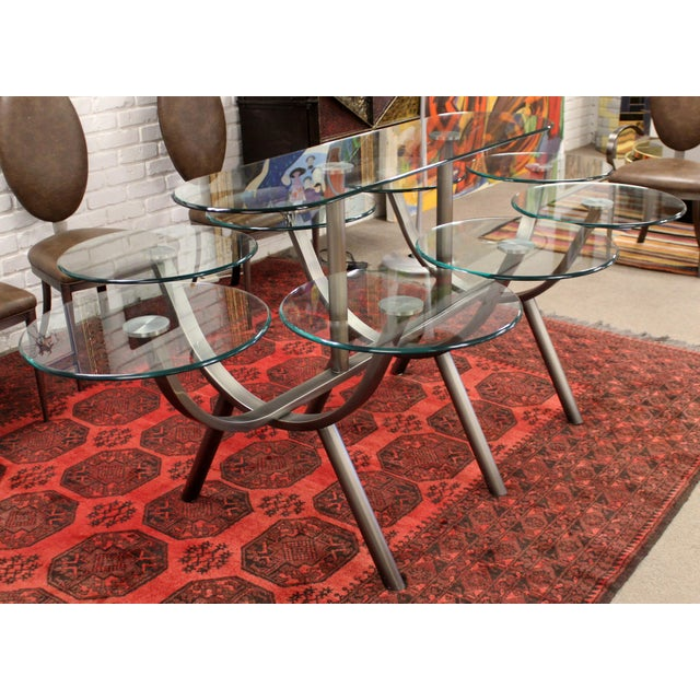 Contemporary Modern Dia Circle of Life Dining Set Table Chairs 1980s Glass Steel - Set of 9 For Sale - Image 11 of 12
