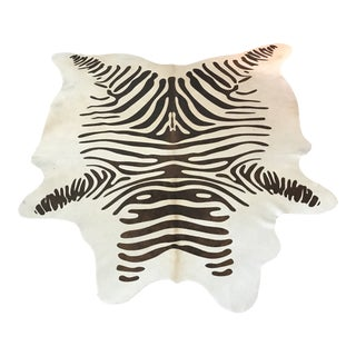 Zebra Print Cowhide Rug - 6′4″ × 7′6″ For Sale