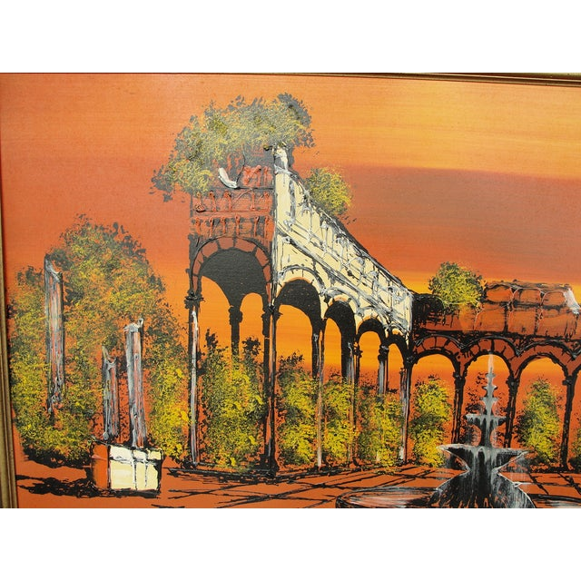 1950's Orange Ruins Painting by V Ran Raymor - Image 4 of 7
