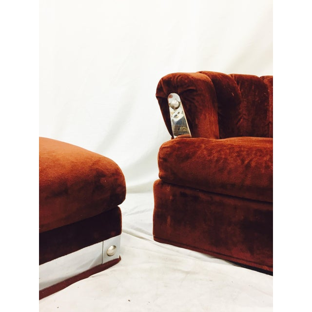 Chrome Vintage Mid-Century Modern Chair & Ottoman For Sale - Image 7 of 11