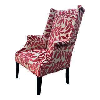 Mid-Century Wing Chair Updated in Deep Coral For Sale
