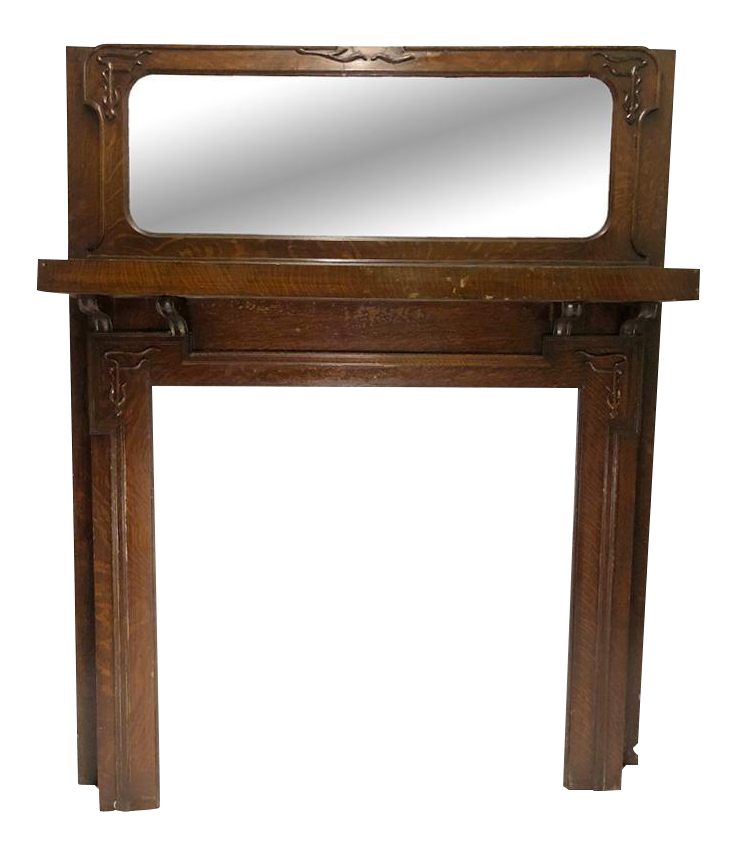 Antique Architectural Victorian Tiger Oak Mirror Top Fireplace