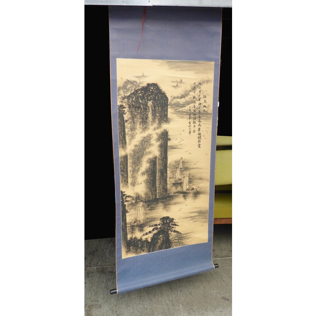 Vintage Japanese Mountains & Fishing Boats Scroll Painting - Image 3 of 11