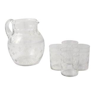 Vintage Water Pitcher & Glasses With Fleur De Lis Motif - Set of 5 For Sale