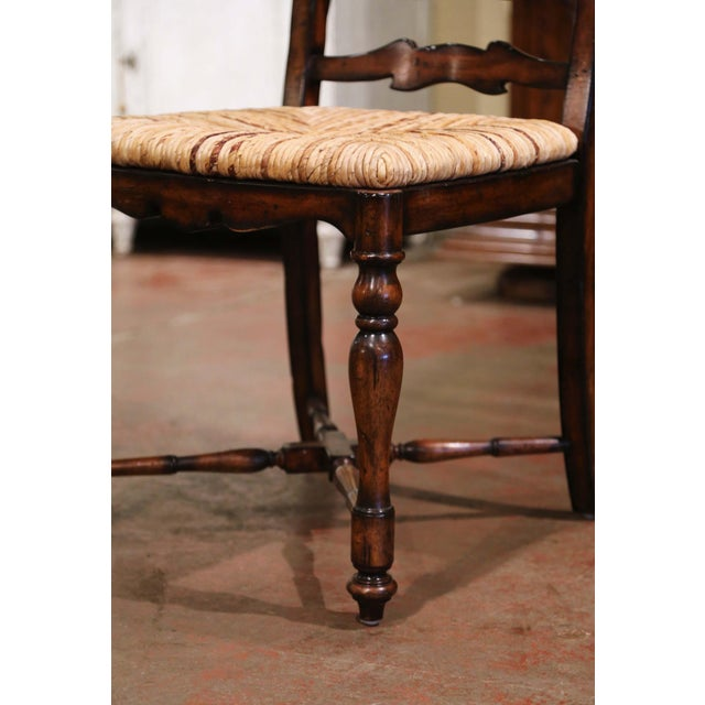 Country French Carved Walnut Ladder Back Chairs With Rush Seat, Set of Six For Sale In Dallas - Image 6 of 11
