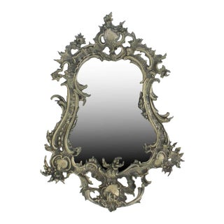 Antique Rococo Pewter Cartouche Wall Mirror For Sale