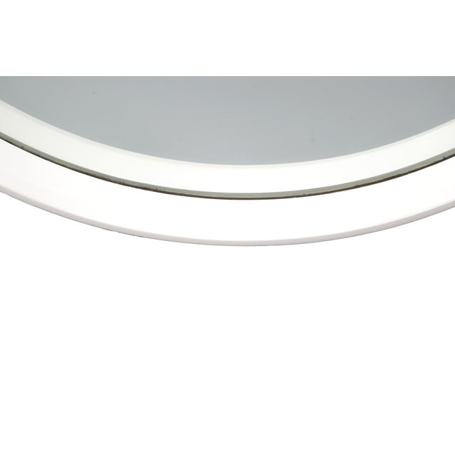 Wood Round White Bentwood Wall Mirror For Sale - Image 7 of 8