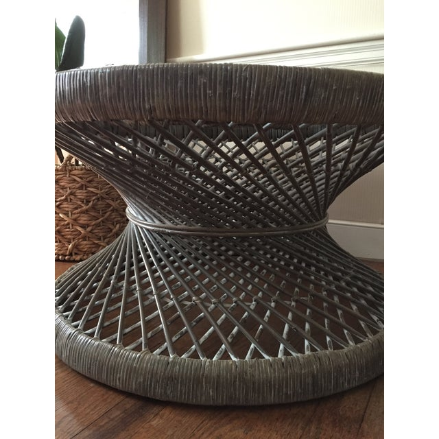 1980s Round Rattan Woven Coffee Table For Sale - Image 5 of 7