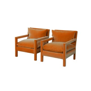 1970s Art Deco Milo Baughman Reupholstered Orange Velvet Parsons Chairs - a Pair