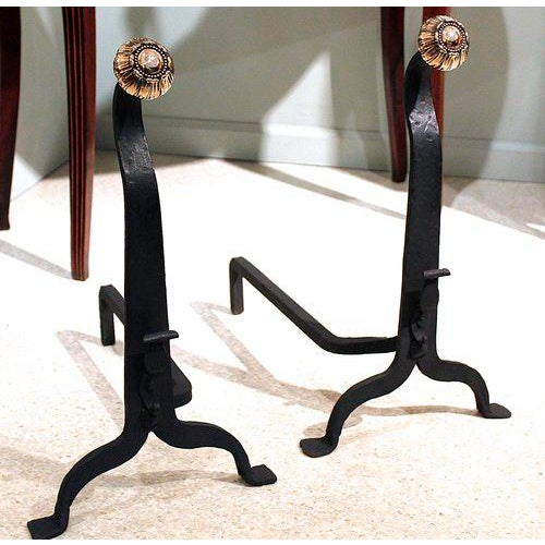 19th Century Wrought Iron and Bronze Art and Crafts Andirons - A Pair - Image 7 of 8