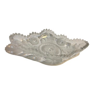 1950s Vintage Mid Century Cut & Frosted Oblong Candy Dish For Sale