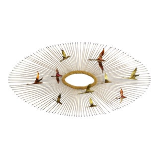 Mid Century Modern Oval Sunburst and Bird Wall Sculpture Attributed to C. Jere For Sale