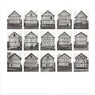 "Bernhard and Hilla Becher Half-Timbered Houses (No Text) 27.5"" X 27.5"" Poster 2003 Minimalism Gray For Sale"