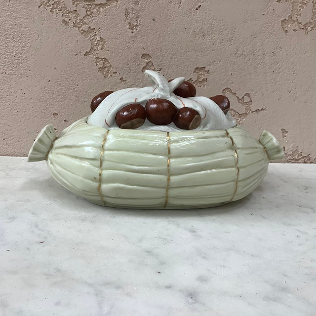 Porcelain Trompe l'Oeil Chestnut Tureen Mehun Circa 1930 For Sale - Image 4 of 4