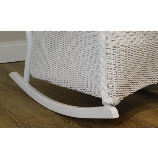LLoyd Flanders White Wicker Pair Patio Porch Rockers For Sale - Image 11 of 13