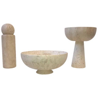 Set of Three Italian Travertine Architectural Bowl by Raymor