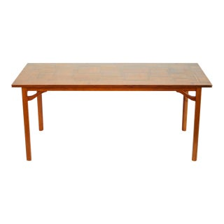 1960s Carl Malmsten Scandinavian Modern Walnut Veneer Sofa Table For Sale