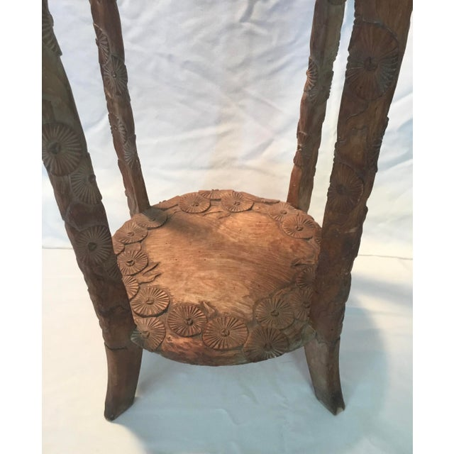 Brown African Carved Monkey Side Table For Sale - Image 8 of 11