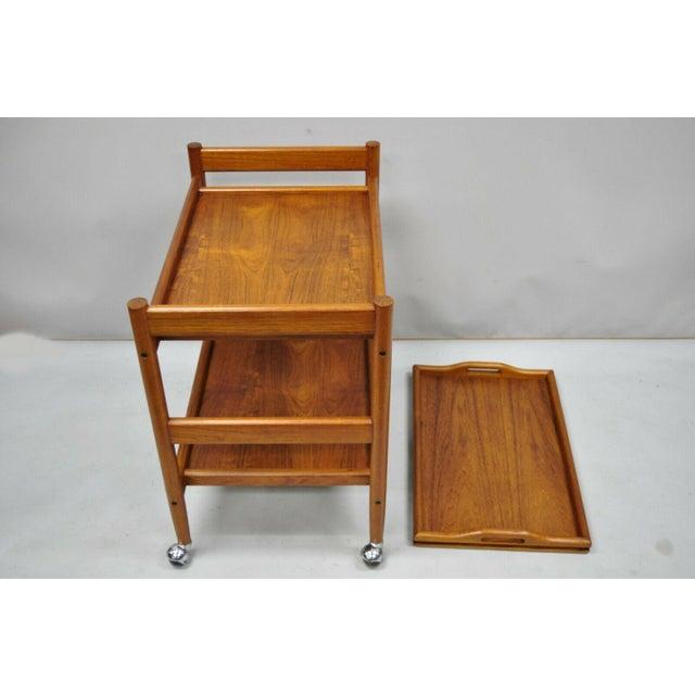 Orange 20th Century Danish Modern Dixie Teak Rolling Bar Cart For Sale - Image 8 of 12
