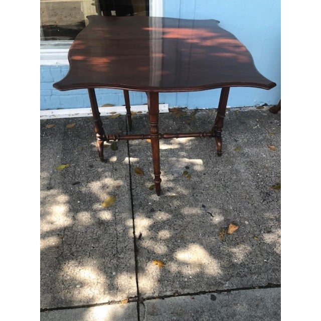 Wood Antique English Mahogany Drop Leaf Table For Sale - Image 7 of 7