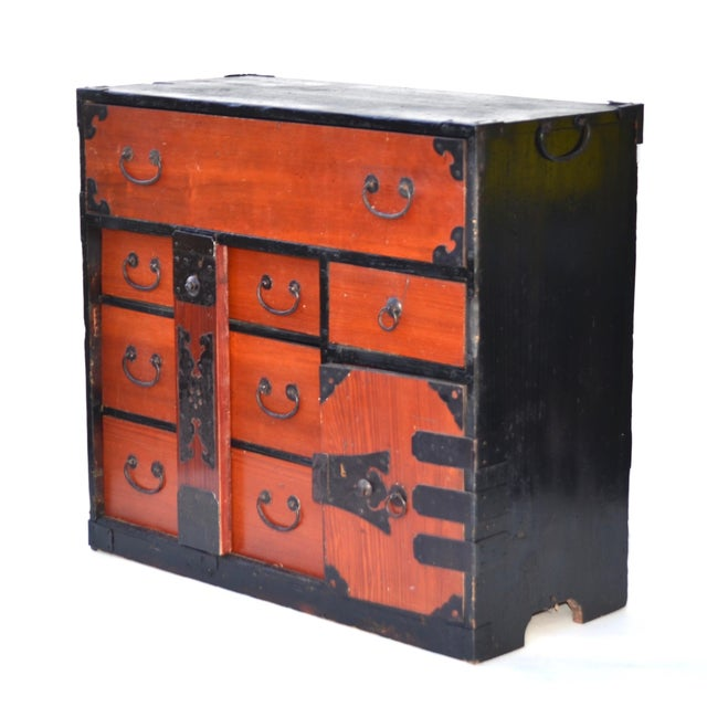 Antique Japanese Lacquered Small Tansu Chest - Image 3 of 6