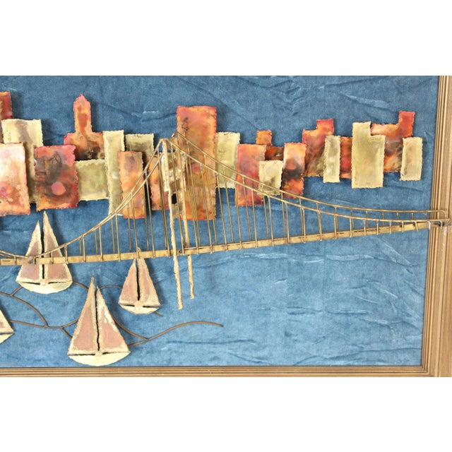 Golden Gate Bridge Mixed Metal Wall Sculpture For Sale - Image 4 of 10