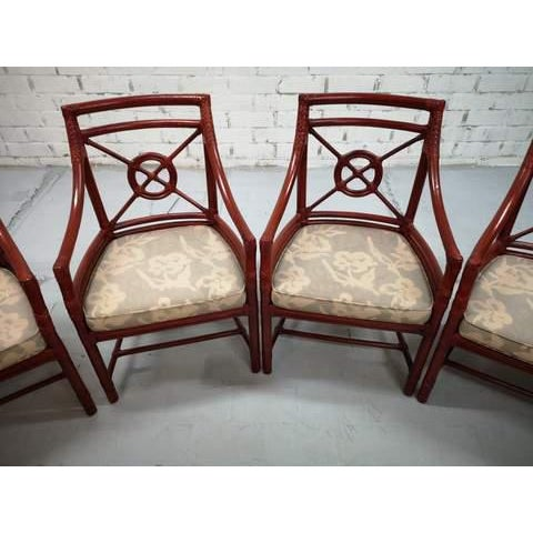 Red Set of 6 Italian Mid Century Red Bamboo Chippendale Lounge Dining Chairs For Sale - Image 8 of 13