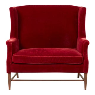 1940s Traditional Red Velvet High-Back Settee