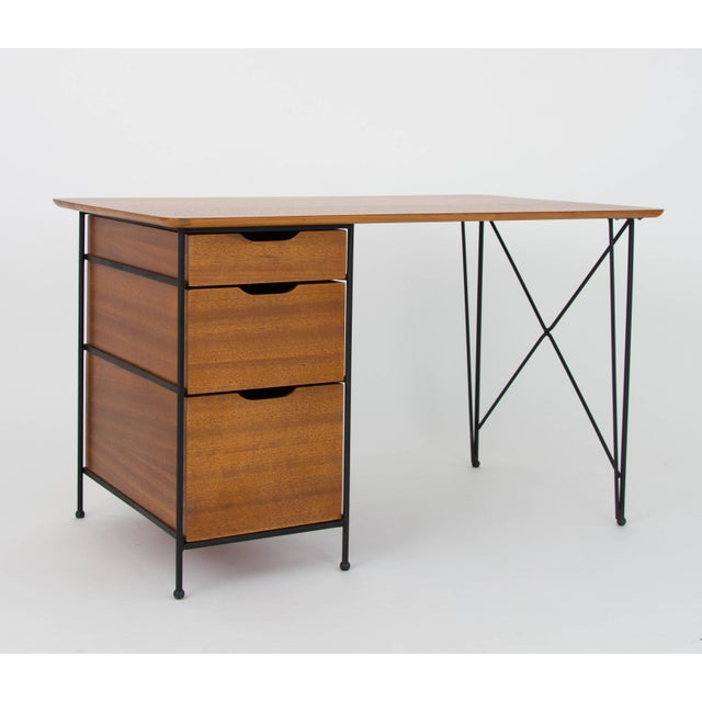 Modernist Desk in Mahogany and Enameled Steel by Vista of California - Image 3 of 9