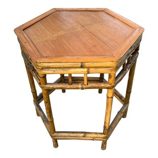 Vintage Rustic Hexagon Bamboo Side Table For Sale